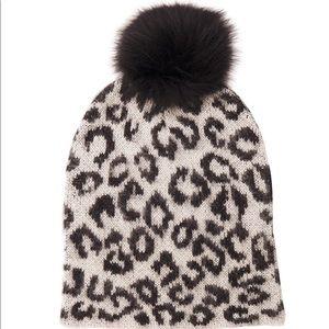 Fox Fur leopard Pom Pom hat by Jocelyn